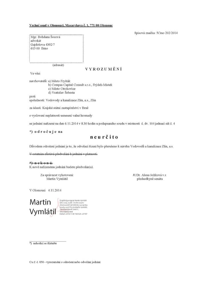 5.11.14 CCC - VaK Zlin VH 30 4 2004 - 5 Cmo 202_2014 - odrocuje-sa-na-neurcito